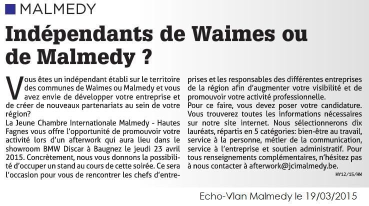 Echo-Vlan Malmedy 18-03-2015